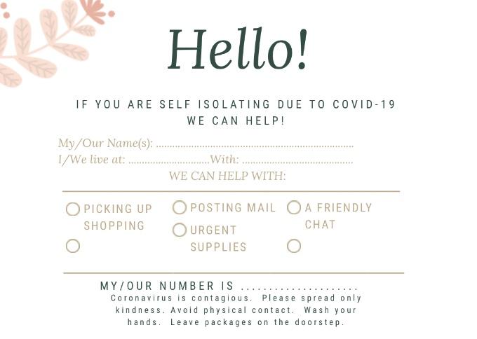Covid-19 Isolation HelpPostcard